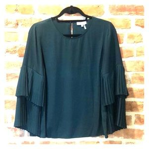 Green Pleated Bell Sleeve Top - 1 State